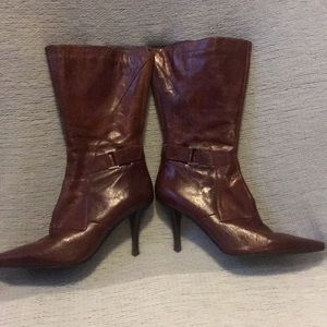 Nine West brown leather heeled boots